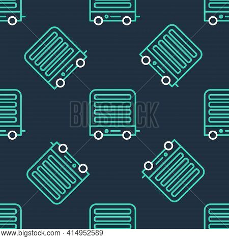 Line Electric Heater Icon Isolated Seamless Pattern On Black Background. Infrared Floor Heater With