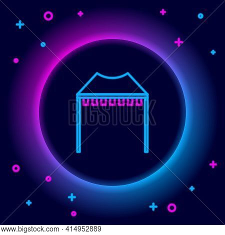 Glowing Neon Line Camping Tent Icon Isolated On Black Background. Carnival Camping Tent. Amusement P
