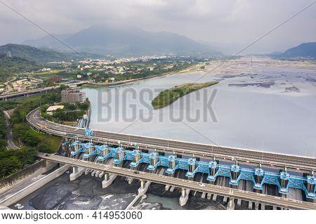 landmark of Jiji weir, the management center of Zhuo-Shui river water at Jiji town, Nantou, Taiwan