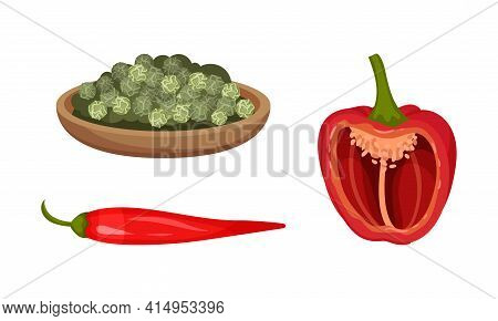 Red Pepper As Ripe Vegetable And Organic Food With Peppercorn On Plate Vector Set