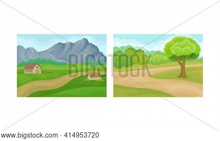 Winding Country Road And Green Landscape Vector Set