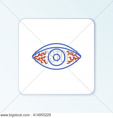 Line Reddish Eye Due To Viral, Bacterial Or Allergic Conjunctivitis Icon Isolated On White Backgroun