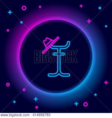 Glowing Neon Line Coat Stand Icon Isolated On Black Background. Colorful Outline Concept. Vector