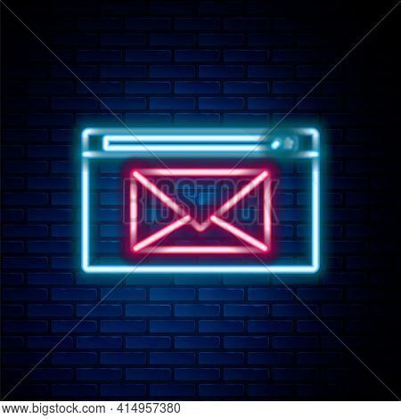 Glowing Neon Line Mail And E-mail Icon Isolated On Brick Wall Background. Envelope Symbol E-mail. Em