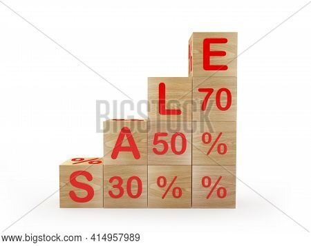 Stairs Or Graph From Wooden Cubes With The Text Sale Thirty And Fifty And Seventy Percent. 3d Illust