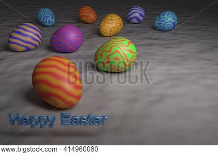 Happy Easter. Multicolored Easter Eggs With A Wavy Pattern. 3D Rendering.