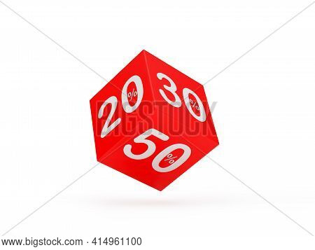 Red Dice With 20 And 30 And 50 Percentage Discounts. 3d Illustration