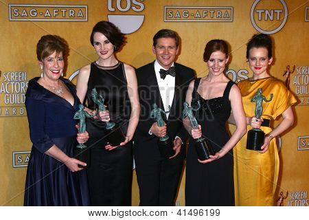 LOS ANGELES - JAN 27:  Cast of Downton Abbey  pose in the press room at the 2013 Screen Actor's Guild Awards at the Shrine Auditorium on January 27, 2013 in Los Angeles, CA
