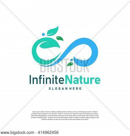 Nature Leaf Agriculture Logo Designs Concept Vector, Infinity Leaf Nature Logo Symbol