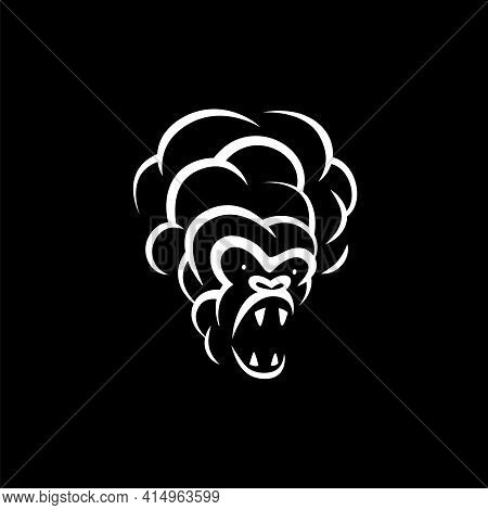 Linear White Smoke Monkey Face Icon On Black Background. Vector Smoke Hookah Monkey Logo Idea For Th