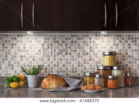 Food Ingredients In A Kitchen With Cozy Lighting