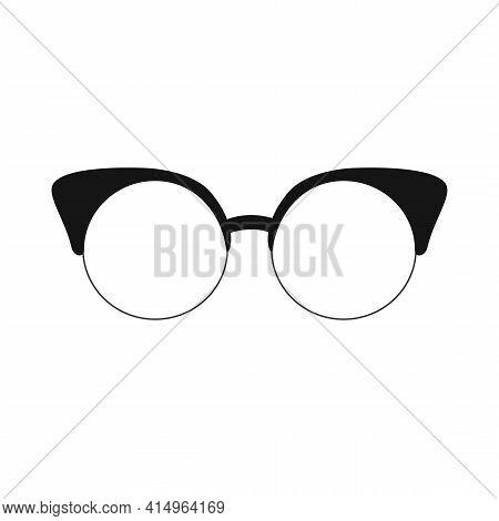 Vintage Woman Eyeglasses Icon Isolated On White. Eyewear Fashion. Vector