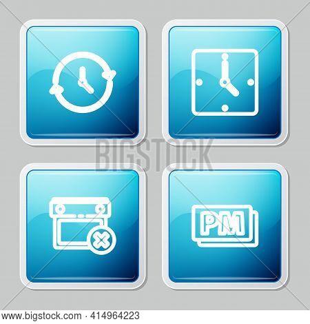 Set Line Clock, , Calendar Date Delete And Pm Icon. Vector