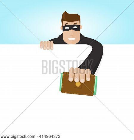 A Thief Steals A Portmanteau. The Crook Pulls Out The Purse. Stealing Money.