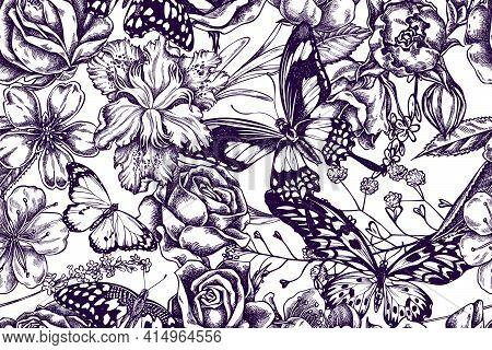 Artistic Seamless Pattern With Shepherd S Purse, Heather, Iris Japonica, Sakura, Gypsophila, Almond,