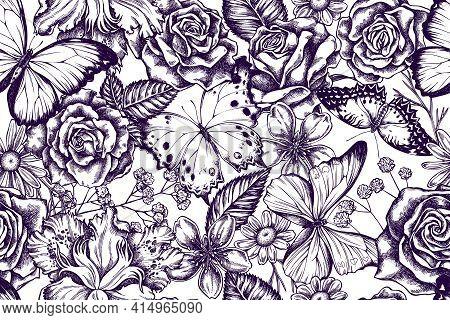 Artistic Seamless Pattern With Iris Japonica, Gypsophila, Chamomile, Almond, Menelaus Blue Morpho, B