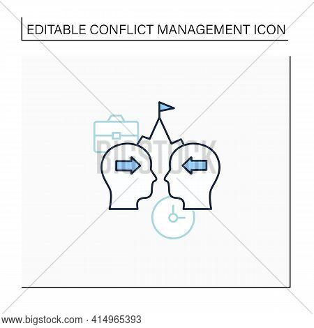 Competing Line Icon. Competition Between Coworker. Stress Position Without Considering Opposing View