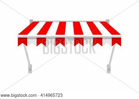 Shop Awning Tents For Window. Outdoor Market Canopy, Vintage Store Roof. Vector Illustration