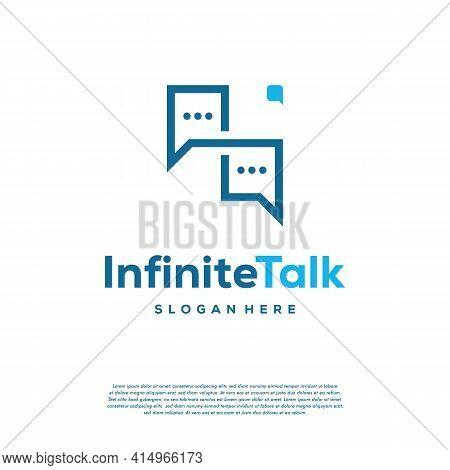 Infinity Talk Discuss Logo Designs Concept Vector, Forum And Loop Symbol Icon Template