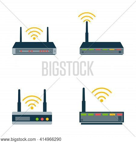 Router Flat Icon. Vector Router. Router And Signal Symbol. Wi-fi Router