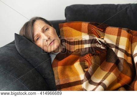 A Senior Woman Feels Unwell, Lying Down On The Couch Alone At Home, Covered With Blanket Feels Chill