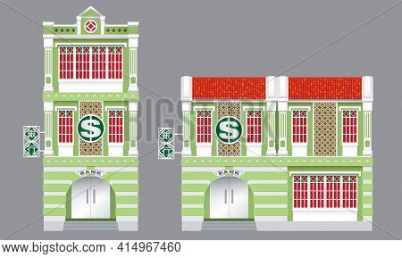A Bank In Colonial Style Shop House. Isolated, With 2 Or 3-storey Type. Chinese Text Means: Bank.