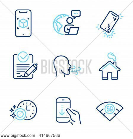 Technology Icons Set. Included Icon As 5g Wifi, Scroll Down, Home Signs. Dishwasher Timer, Smartphon