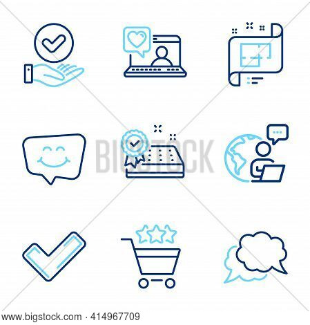 Business Icons Set. Included Icon As Architectural Plan, Approved Checkbox, Mattress Guarantee Signs