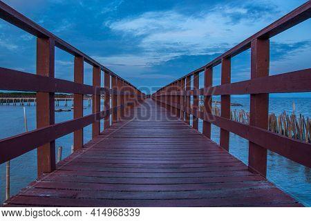 Beautiful Of The Walkway Red Wooden Bridge In Evening At Bang Khun Thian Sea View, Bang Khun Thian,