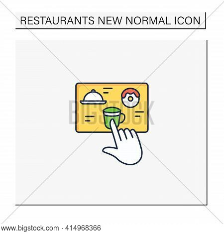Contactless Ordering Color Icon. Ordering Food At Distance. Online Order. Regulation Through Covid19