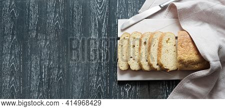 Homemade Keto Bread On Grey Wooden Table. Slices Of Fresh Baked Low Carb Bread, Banner. Lchf Diet Co
