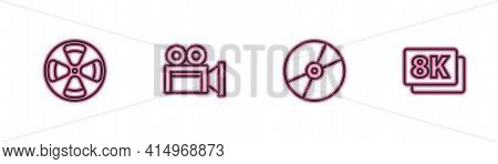 Set Line Film Reel, Cd Or Dvd Disk, Cinema Camera And 8k Ultra Hd Icon. Vector