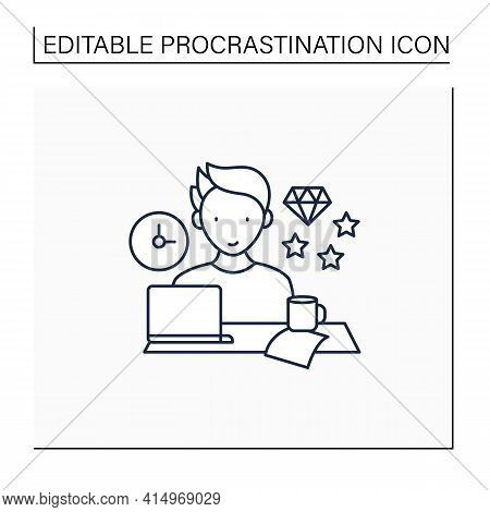 Perfectionist Procrastinator Line Icon. Set Large, Unattainable Goals. Tired To Solve Tasks.procrast