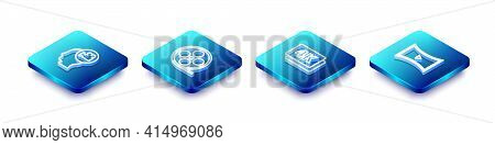 Set Isometric Line Head With Camera, Film Reel, 4k Ultra Hd And Online Play Video Icon. Vector