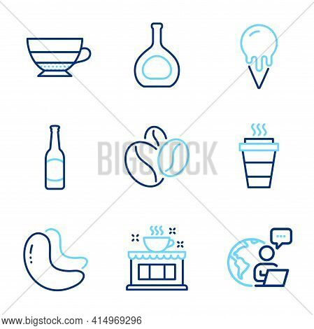 Food And Drink Icons Set. Included Icon As Ice Cream, Cognac Bottle, Takeaway Signs. Beer, Coffee Sh