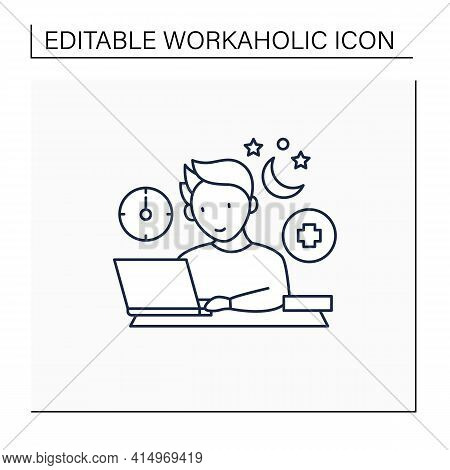 Workaholic Line Icon.workaholism Treatment. Necessary Therapy.man At Laptop.overworking Concept.isol