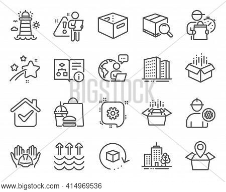 Industrial Icons Set. Included Icon As Open Box, Office Box, Packing Boxes Signs. Cogwheel, Package
