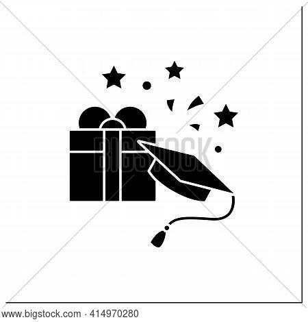Graduation Gift Glyph Icon.gift On Graduation Occasion. Pleasant Presents. Special Surprise. Graduat