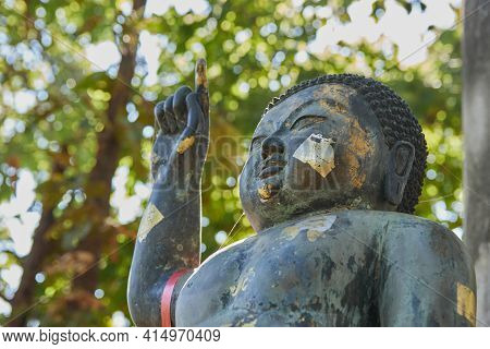 Phayao, Thailand - Dec 13, 2020: Right Frame Headshot The Birth Of Buddha Statue On Forest Backgroun