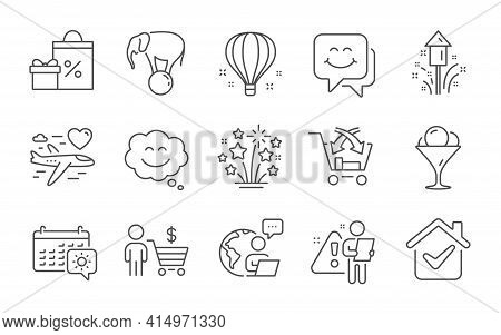 Fireworks Stars, Ice Cream And Smile Face Line Icons Set. Shopping, Honeymoon Travel And Cross Sell