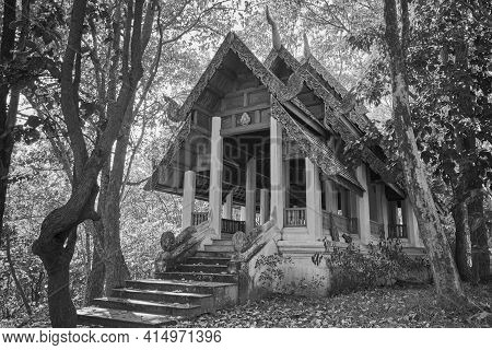 Phayao, Thailand - Dec 13, 2020: Black And White Sangkajai Buddha Sanctuary In Wat Analayo Temple