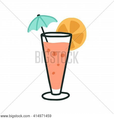 Glass Of Cold Tropical Beach Cocktail With Straw, Umbrella And Citrus Slice. Summer Refreshing Drink