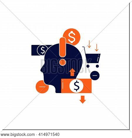 Mindful Spending Glyph Icon.thoughtful Shopping.necessary Purchases.profitable Investment. Thoughtfu
