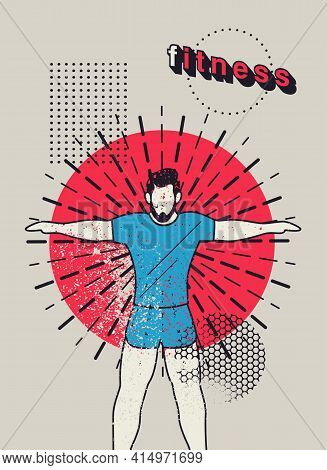 Fitness Sport Typographic Vintage Grunge Poster Design With Flat Style Man. Abstract Geometric Patte