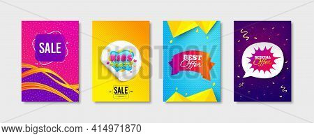 Sale, Kids Party And Best Offer Promo Label Set. Sticker Template Layout. Special Offer Sign. Playin