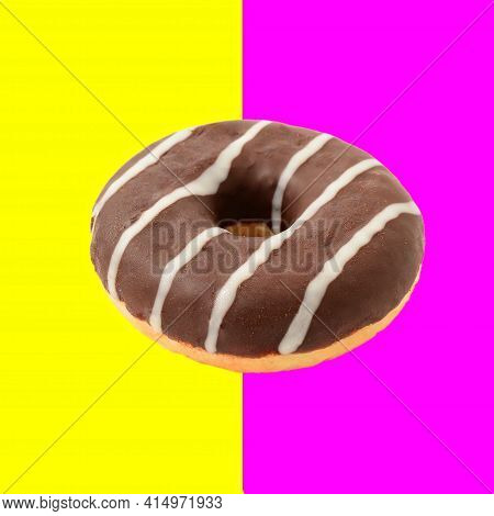 One Whole Chocolate Donut Isolated Over Half Pink And Half Yellow Background, Retro Vintage Styled I