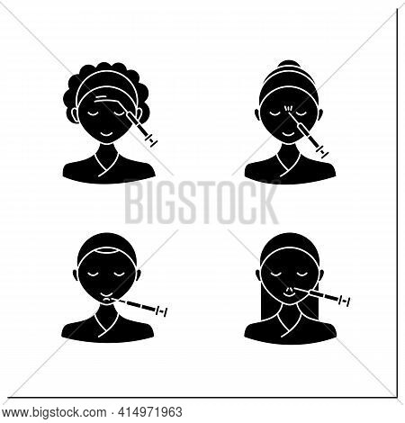 Cosmetic Injection Glyph Icons Set.beauty Correction. Rejuvenation. Forehead, Chin, Nose Injections.