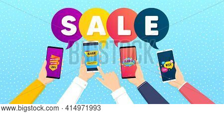 Kids Games, Special Offer And Sale Tag Promo Label Set. Banner With Mobile Phones In Hands. One Week