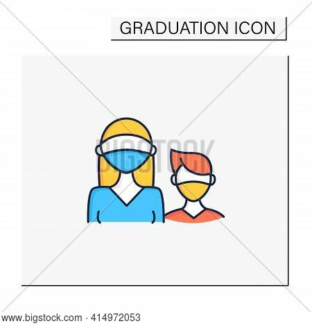 Senior Color Icon. Professor Protection. Second-year Student And Freshman. Training, Studying. Profe