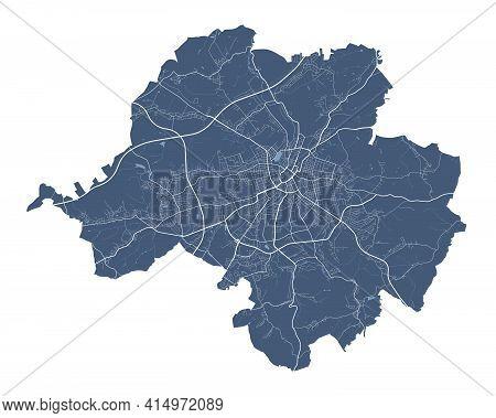 Chemnitz Map. Detailed Vector Map Of Chemnitz City Administrative Area. Cityscape Poster Metropolita